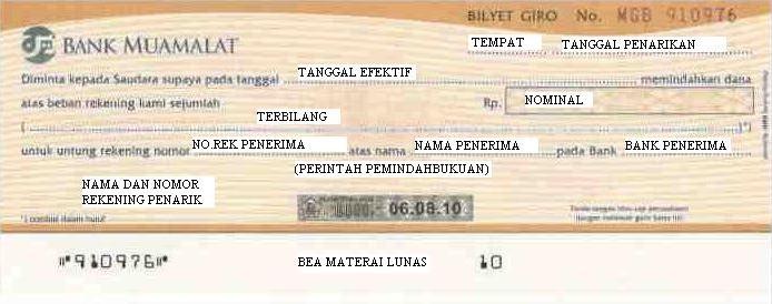 Contoh bilyet giro bank Muamalat