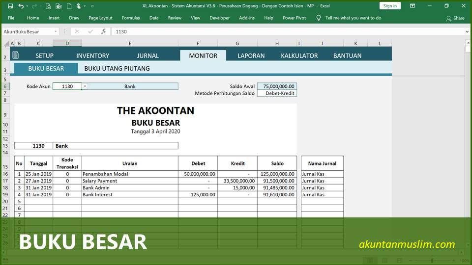 Aplikasi Akuntansi Perusahaan Dagang - Buku Besar