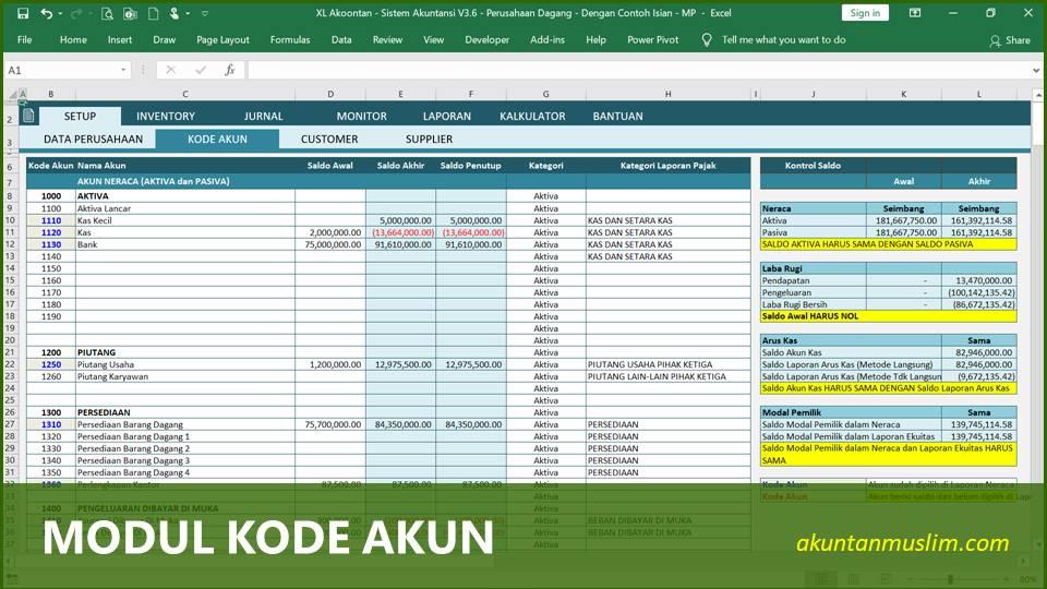 Aplikasi Akuntansi Perusahaan Dagang - Kode Perkiraan