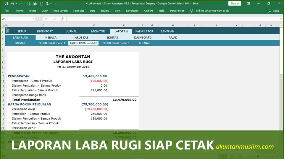 Aplikasi Akuntansi Perusahaan Dagang - Laporan Laba Rugi