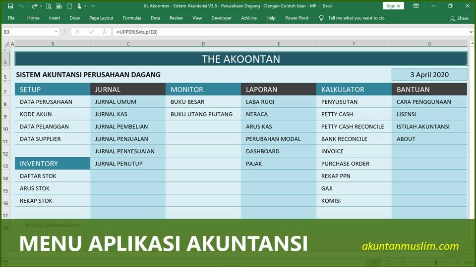 Aplikasi Akuntansi Perusahaan Dagang - Menu