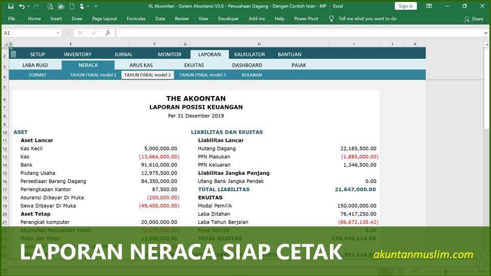 Aplikasi Akuntansi Perusahaan Dagang - Neraca