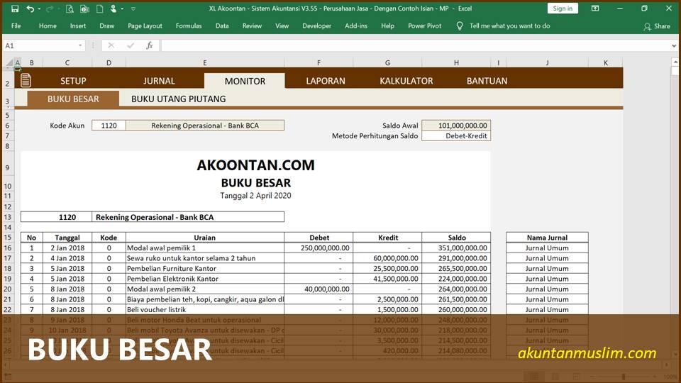 Aplikasi Akuntansi Perusahaan Jasa - Buku Besar
