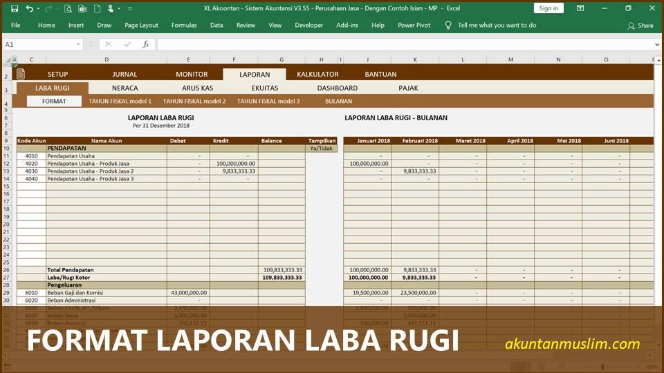 Aplikasi Akuntansi Perusahaan Jasa - Format Laporan