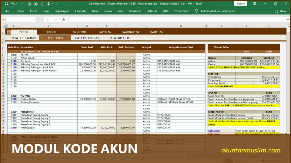 Aplikasi Akuntansi Perusahaan Jasa - Kode Perkiraan