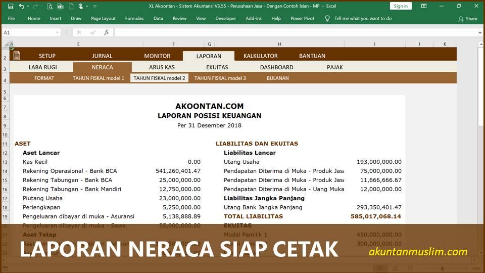 Aplikasi Akuntansi Perusahaan Jasa - Laporan Neraca Siap Cetak