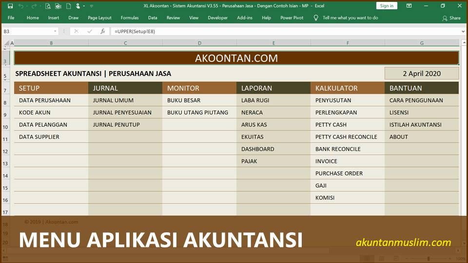 Aplikasi Akuntansi Perusahaan Jasa - Menu