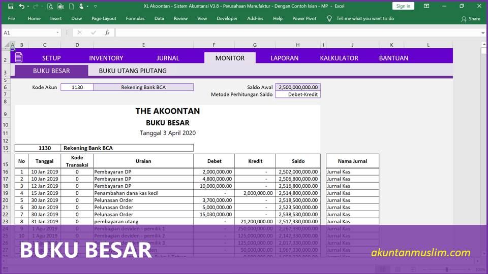 Aplikasi Akuntansi Perusahaan Manufaktur - Buku Besar