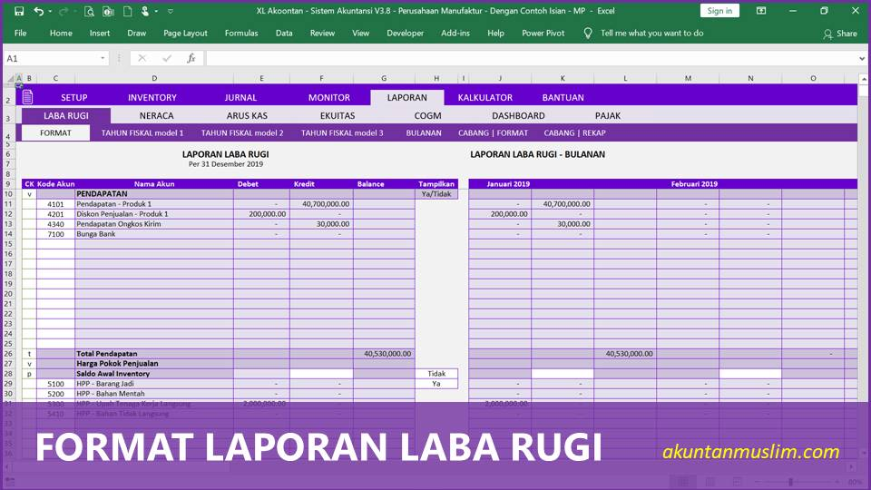 Aplikasi Akuntansi Perusahaan Manufaktur - Format Laba Rugi