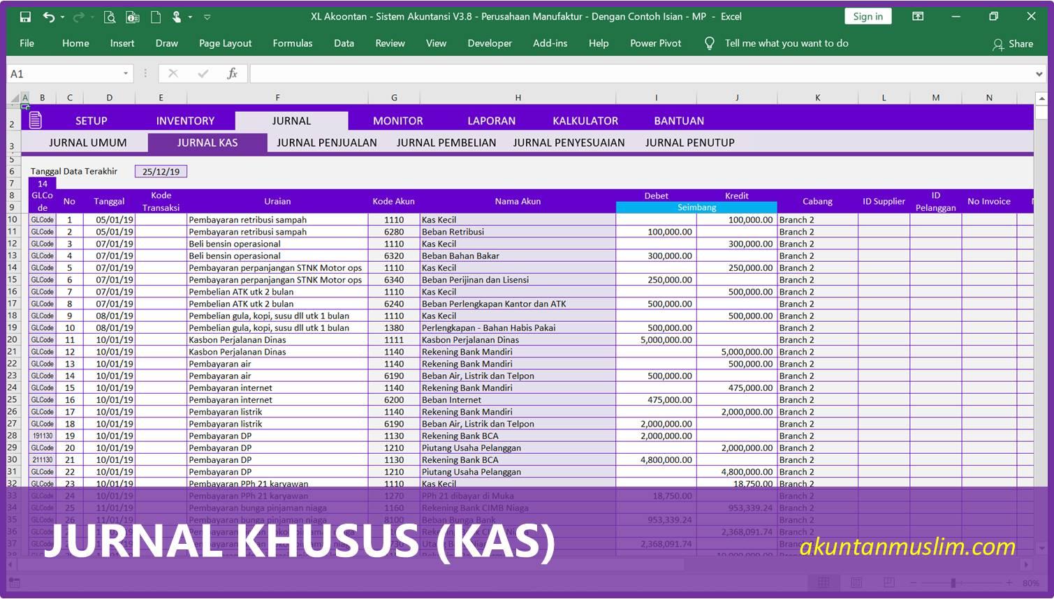 Aplikasi Akuntansi Perusahaan Manufaktur - Jurnal Kas