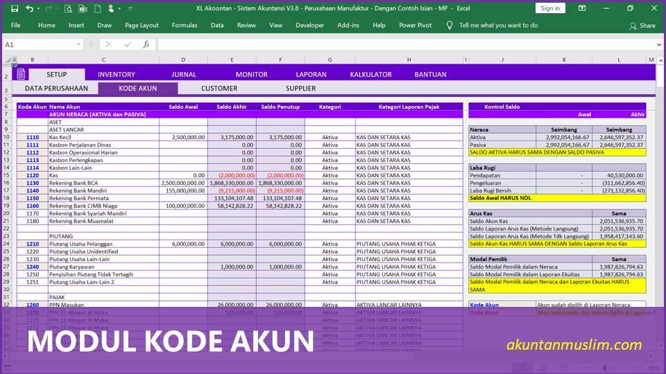 Aplikasi Akuntansi Perusahaan Manufaktur - Kode Perkiraan