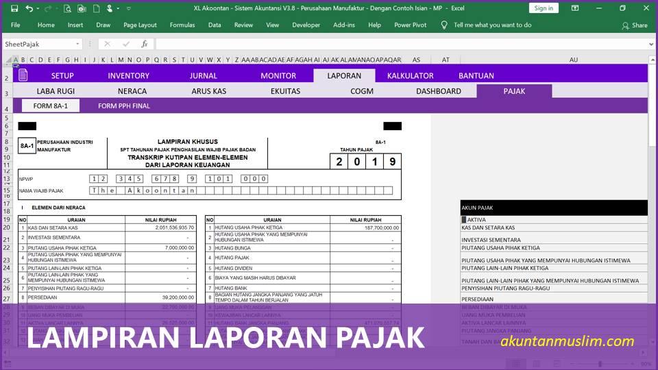 Aplikasi Akuntansi Perusahaan Manufaktur - Lampiran Pajak