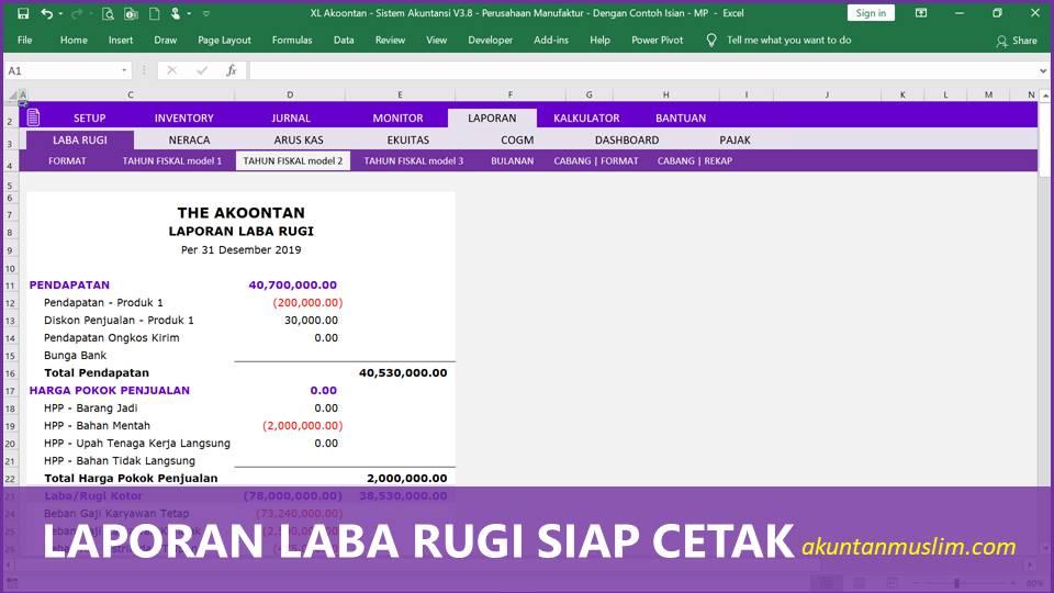 Aplikasi Akuntansi Perusahaan Manufaktur - Laporan Laba Rugi