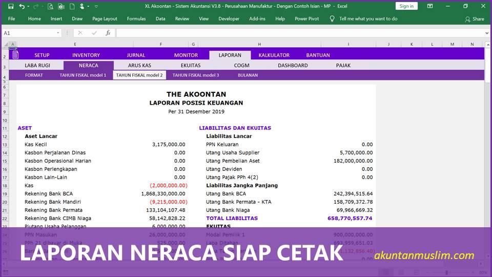 Aplikasi Akuntansi Perusahaan Manufaktur - Laporan Neraca