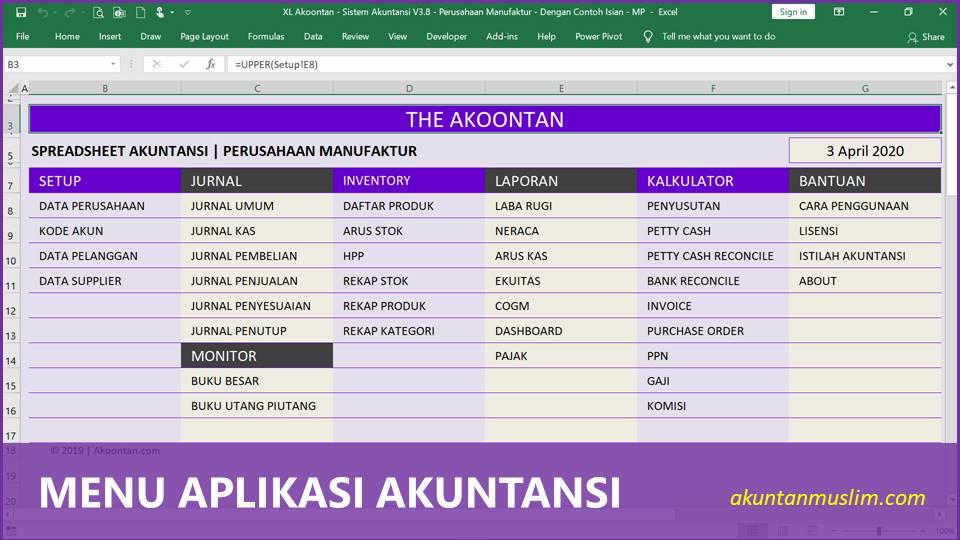 Aplikasi Akuntansi Perusahaan Manufaktur - Menu